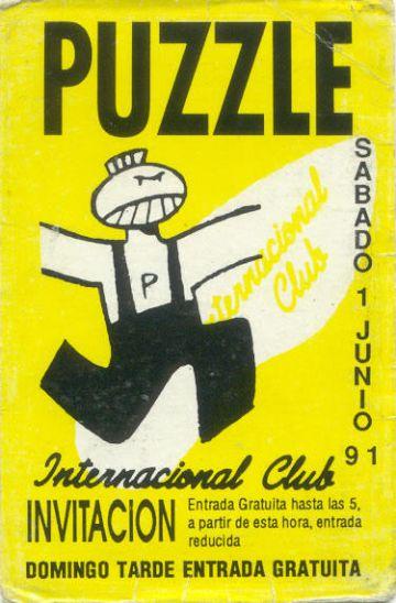 'Flyer' de la discoteca Puzzle.