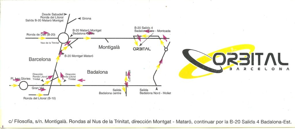 Flyer discoteca Orbital Barcelona trasero logo