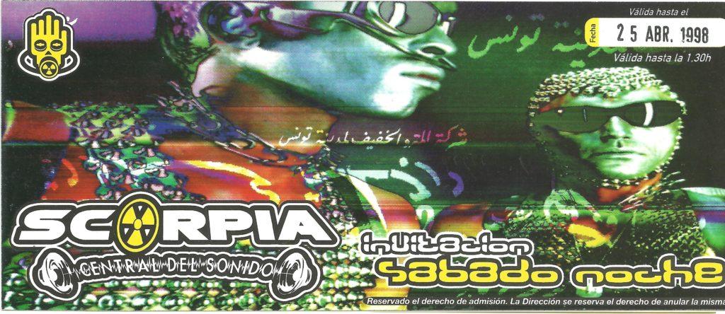 Flyer discoteca Scorpia 1998