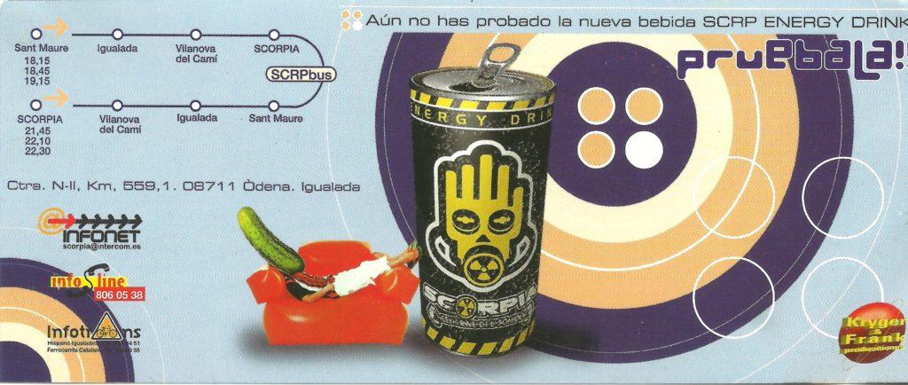 Flyer discoteca Scorpia 1998 Pepno energy drink